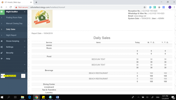 Hotel Management System - Daily Sales Report