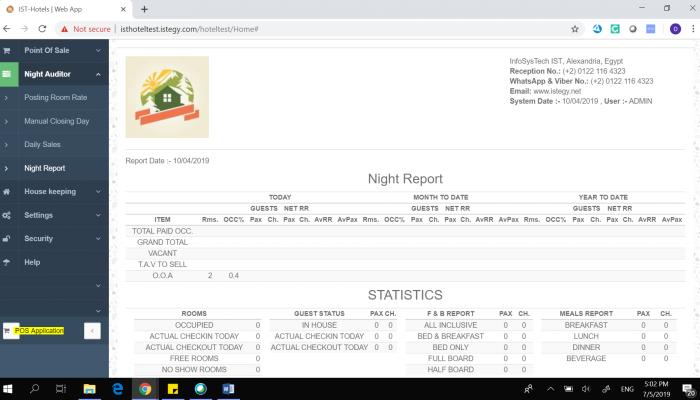 Hotel Management System - Night Report & Statistics